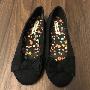 Girls cotton black flats with bow size 2.5